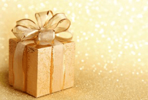 Gift on a gold background